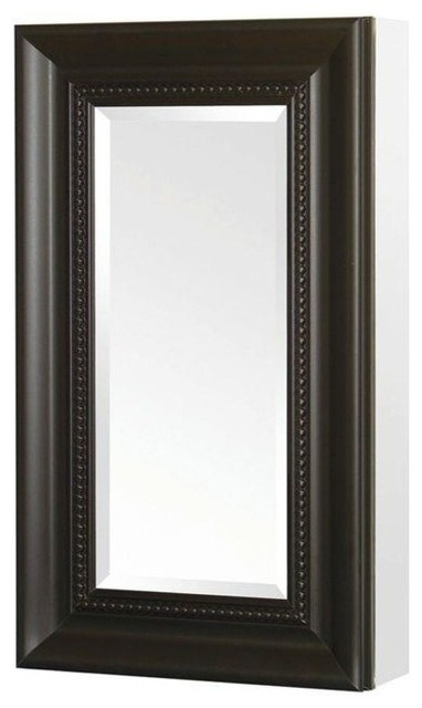 Recessed or Surface Mount Mirrored Medicine Cabinet With Framed Door, Espresso - Traditional ...