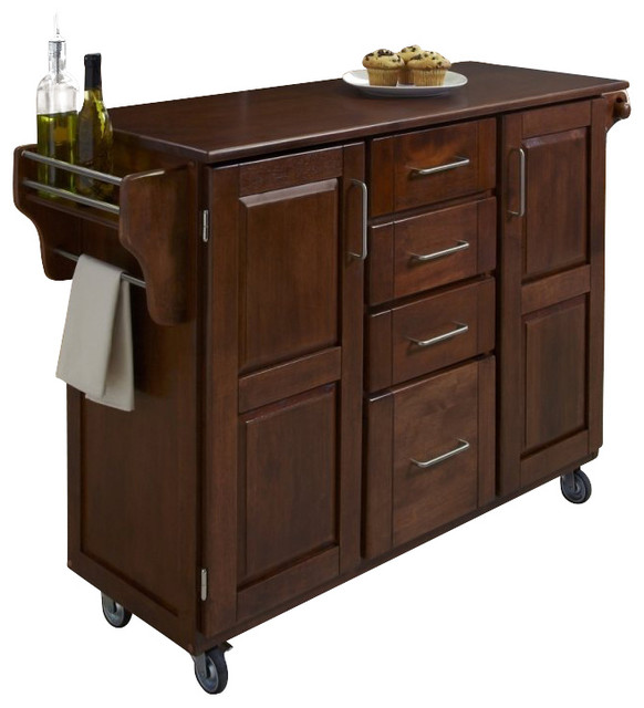 home styles create a cart in cherry finish with cherry top