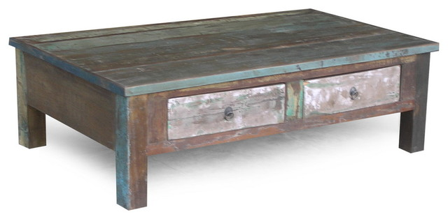 reclaimed wood coffee table with double drawers montagne table basse san francisco par. Black Bedroom Furniture Sets. Home Design Ideas