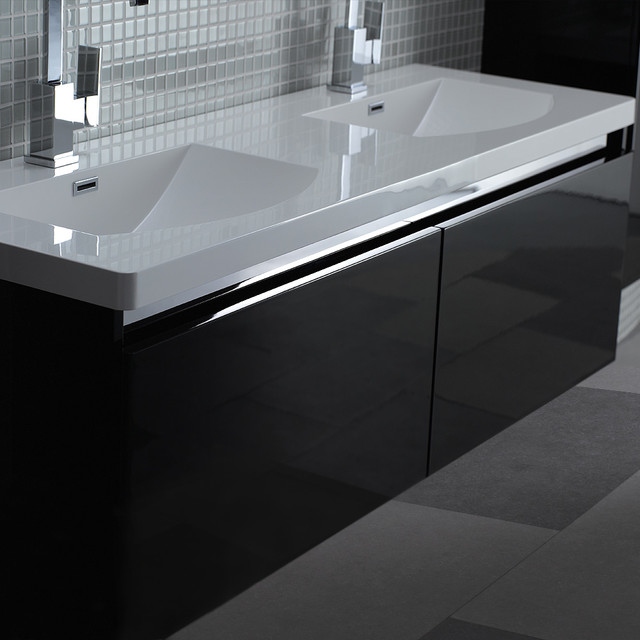 Http Www Houzz Co Uk Photos 14795080 Lusso Stone Noire Double Designer Bathroom Wall Mounted Vanity Unit 1500 Contemporary Bathroom Vanity Units And Sink Cabinets Other Metro