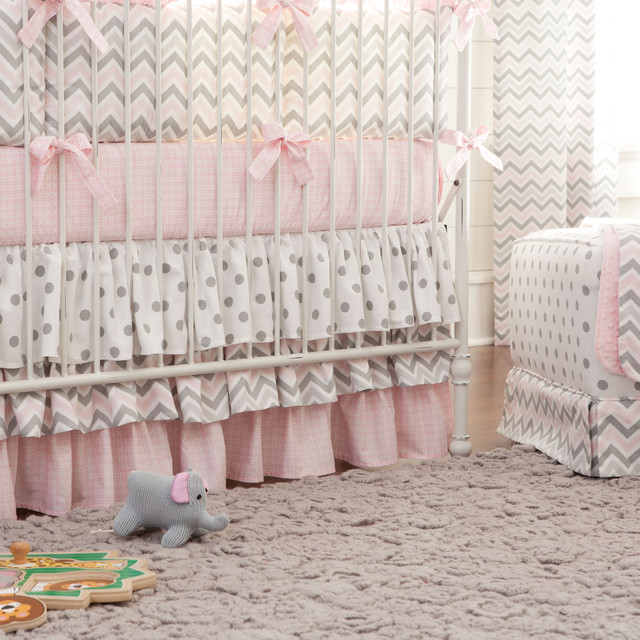 Pink And Gray Chevron 3 Tiered Crib Skirt Contemporary