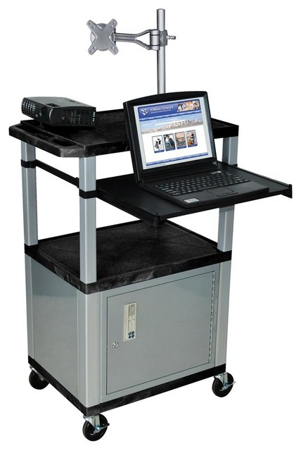 Tuffy 24 in. Front Pullout Shelf Presentation Cart in Black contemporary-filing-cabinets