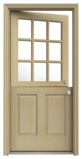 9-Lite Unfinished Hemlock Dutch Entry Door with Unfinished AuraLast Jamb - Traditional - Front ...