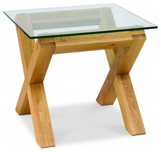 Bentley Designs Lyon Oak Glass Top Lamp Table Modern Side Tables End Tables North West