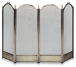 Four fold brass fireplace screen filigree designs and handles contemporary fireplace - Choosing the right contemporary fireplace screens ...
