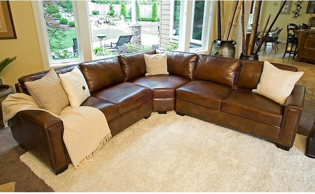 rustic brown leather sectional sofa sec lafl traditional sectional