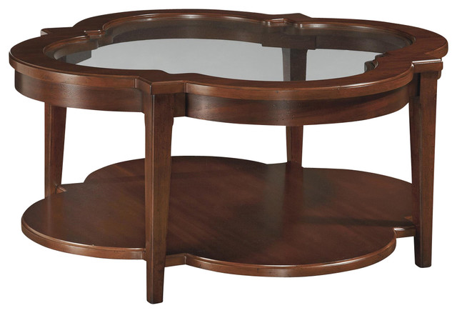 Contours Glass Inset Top Clover Cocktail Table Traditional Coffee Tables By Mahogany More