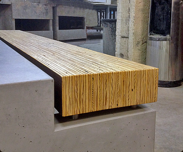 Modern Concrete Benches: Concrete And Wood Bench