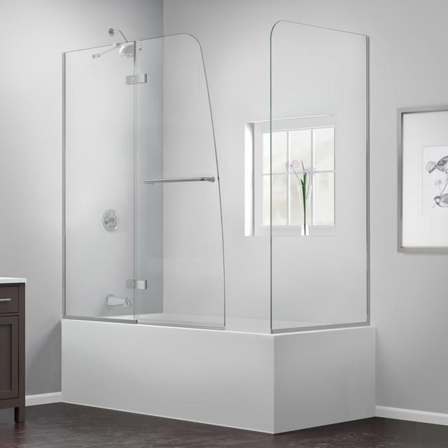 Aqua ultra 56 to 60 x30 x58 hinged tub door with return for 3 panel tub shower doors