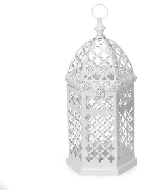 A cha lanterne hexagonale blanche petit mod le - Lanterne exterieure suspendue ...