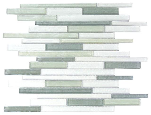 blue gray thin linear glass mosaic wall tile kitchen