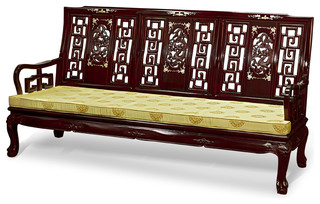 Rosewood Imperial Dragon Design Couch Asian Sofas By