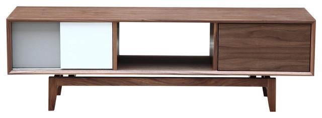 Kardiel Platform Modern Credenza /Media TV Cabinet, Walnut Wood - Modern - Entertainment Centers ...