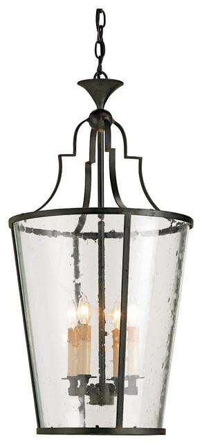 Goshen Seeded Glass Wrought 4 Light Iron Bucket Lantern