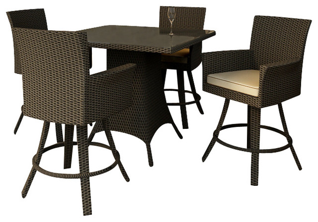 Hampton 5 Piece Modern Outdoor Bar Set Chocolate Wicker Contemporary Pat