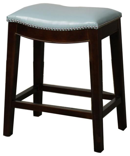 Elmo Bonded Leather Counter Stool Blue Set Of 2
