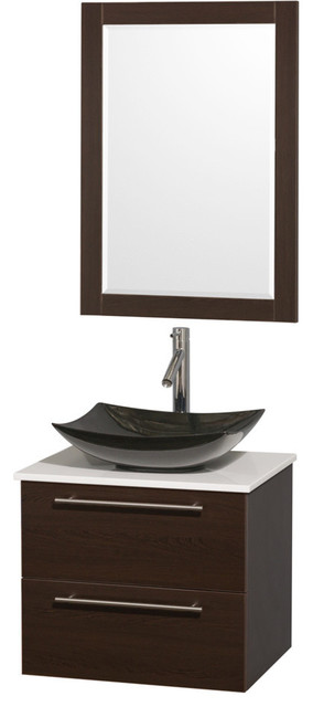 24 single bathroom vanity white man made stone countertop sink mirror contemporary for Man made bathroom countertops