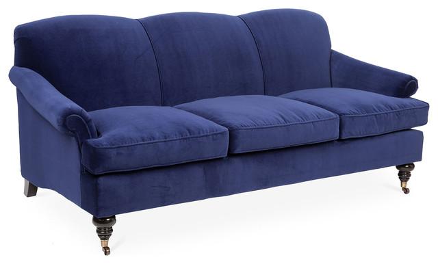 Joplin 83 Velvet Sofa Indigo Contemporary sofas