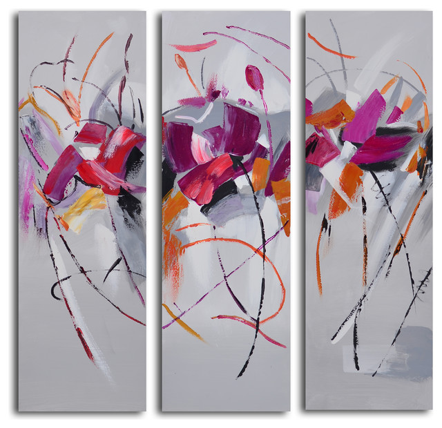 Fuschia frolicking flower triptych hand painted 3 piece for Set of three canvas paintings