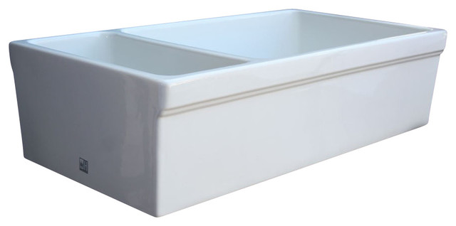 "Double Bowl Fireclay Farmhouse Apron Kitchen Sink 36"" Traditional K"
