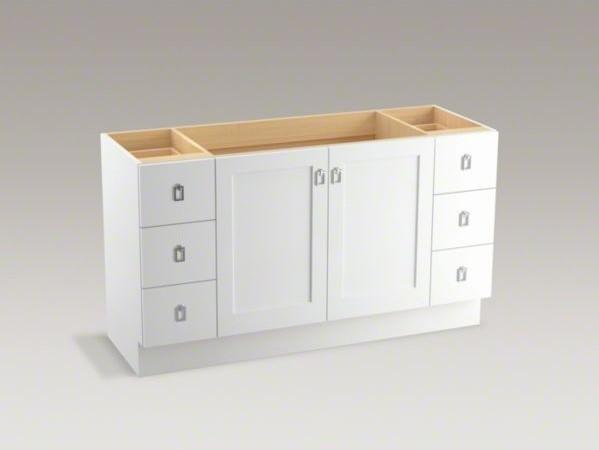 kohler poplin tm 60 vanity with toe kick 2 doors and 6 drawers contemporary bathroom