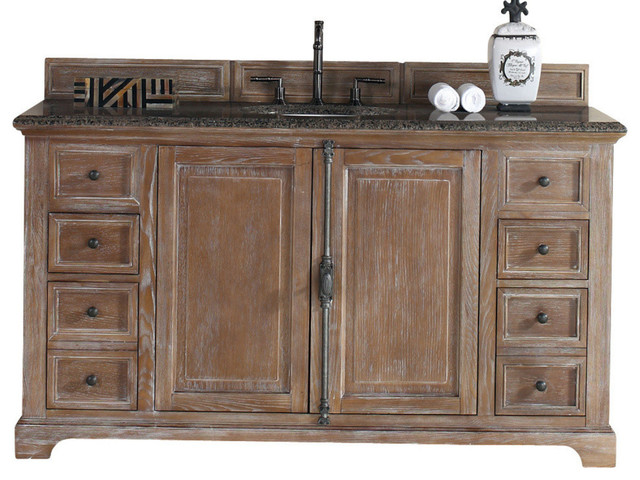 Providence 60 Single Sink Vanity Driftwood Finish Rustic Bathroom Vani