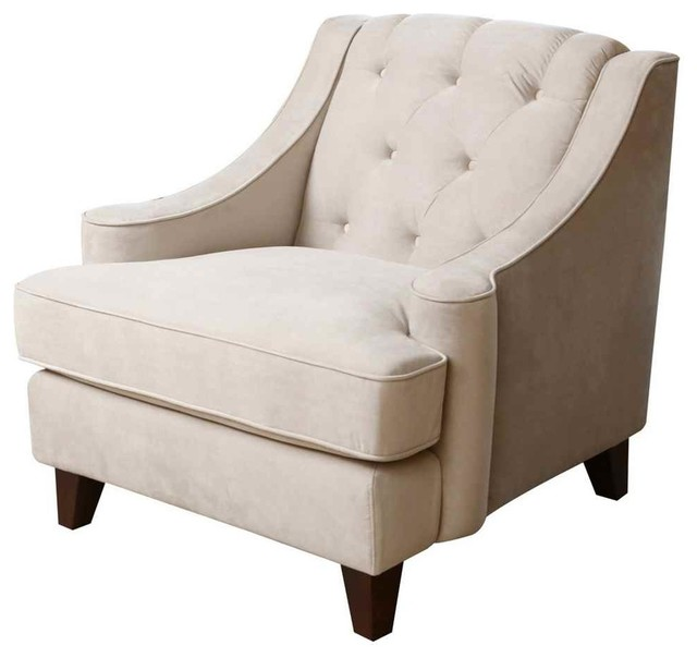 Emily beige velvet fabric tufted armchair contemporary Tufted accent chair