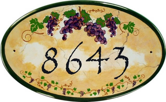 Italian vineyard oval address and house numbers plaques for Mediterranean house numbers