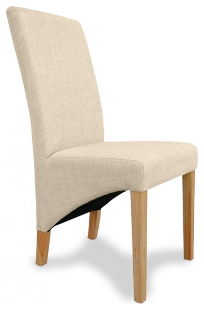 Helat Natural Fabric Dining Chair Pair By Sherman Contemporary Dining C
