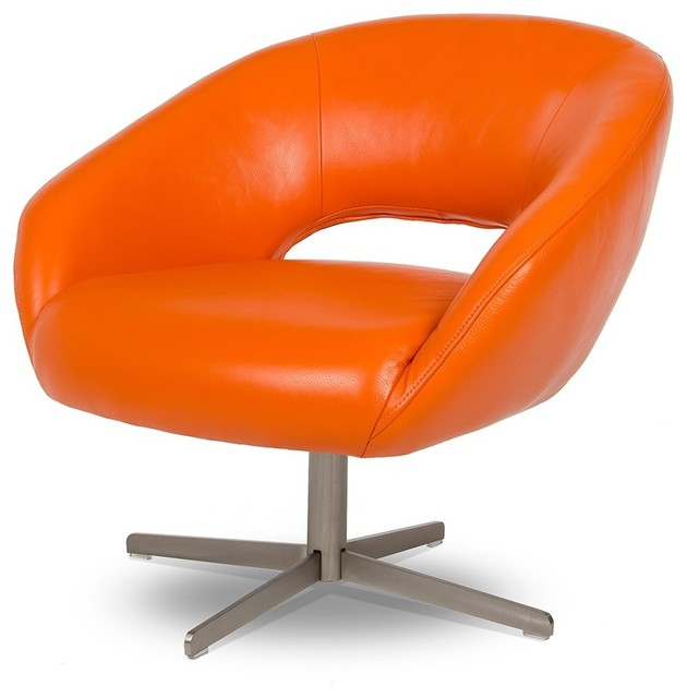 Divani Casa Studio Modern Orange Leather Leisure Chair Contemporary Armch