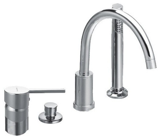 Four Hole Deck Mounted Tub Faucet With Hand Shower And Automatic Diverter C