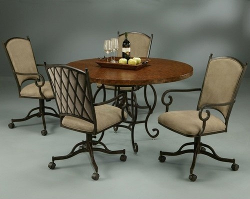 Pastel furniture atrium 5 piece elegant dining table set for Traditional dining table for 8