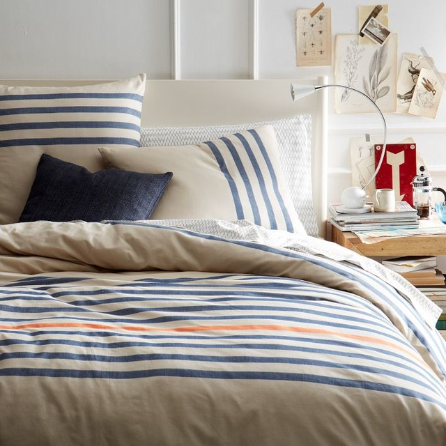Playa Stripe Duvet Cover Contemporary Duvet Covers And