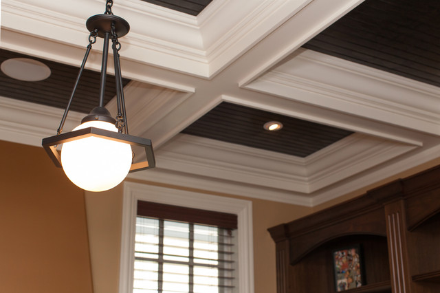 Globe Pendant Light Fixture On Coffered Ceiling