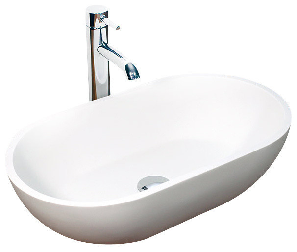Resin Bathroom Sinks : ... Stone Resin Countertop Sink, White Matte contemporary-bathroom-sinks