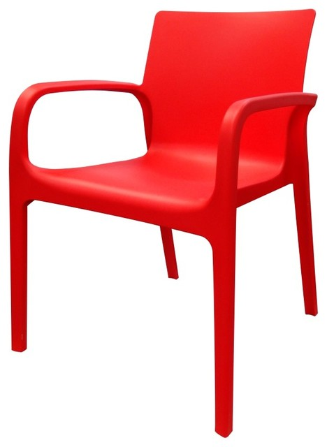 Plastic Chair Red Modern Outdoor Dining Chairs