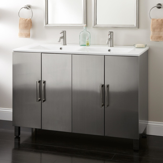 48 fasula stainless steel double vanity modern bathroom vanities and