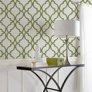Wallpaper double roll green contemporain papier for Accessoires de salle de bain bouclair