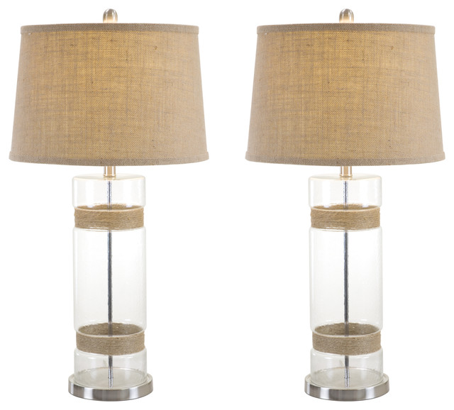 leey table lamp with shade set of 2 beach style table. Black Bedroom Furniture Sets. Home Design Ideas