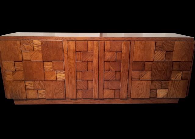 Mid century modern brutalist 4 pc oak bedroom set paul evan era by lane for Mid century modern bedroom furniture