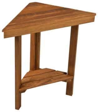 "Teak Mini Corner Bench, 17"" Face x 12"" Sides - Modern - Shower Benches & Seats - by Teakworks4u"