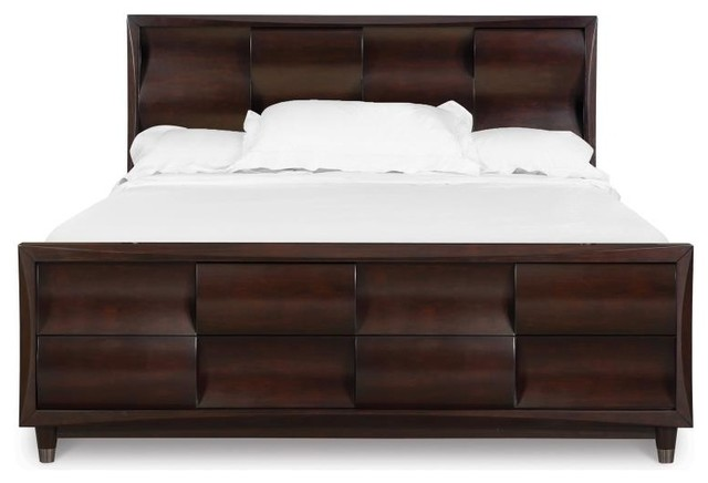 fuqua modern black cherry wood queen panel headboard