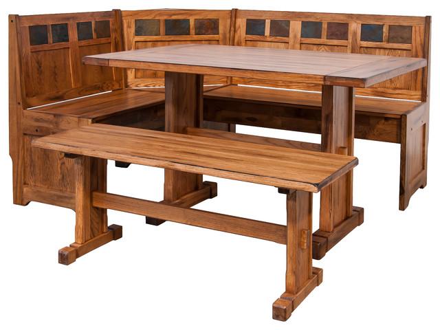 Sedona Breakfast Nook Set With Side Bench Rustic Oak