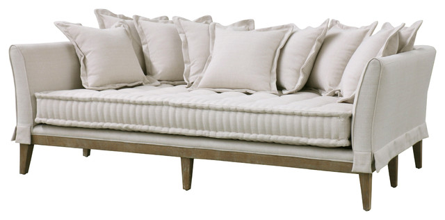 Dedon french country coastal style light sand sofa traditional sofas by kathy kuo home - French country sectional sofas ...