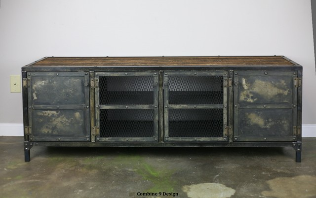 vintage industrial media console credenza reclaimed wood top urban modern. Black Bedroom Furniture Sets. Home Design Ideas