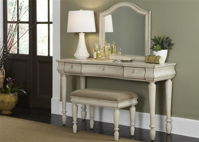vanity in rustic white finish contemporary bedroom and makeup vanities