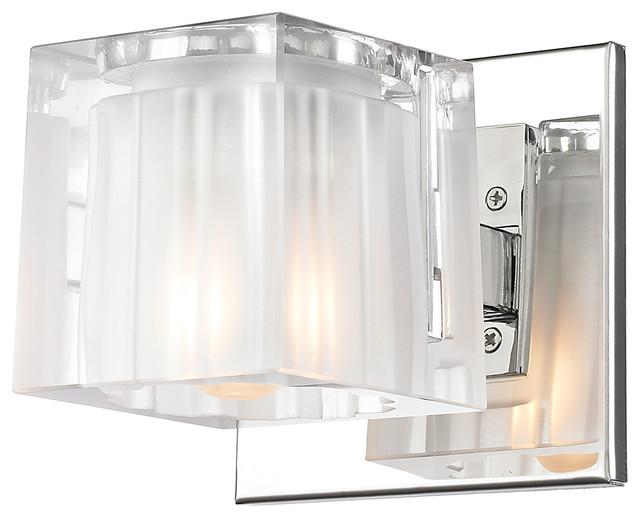 Shop Progress Lighting 3 Light Archie Chrome Bathroom: Block 1 Light Bath Vanity In Chrome With Clear/Encased