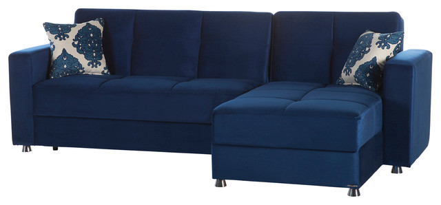 Elegant Roma Navy Sectional Sofa by Sunset International ...