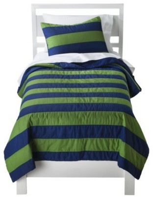 Circo Rugby Stripe Quilt Set Blue Green Modern Kids