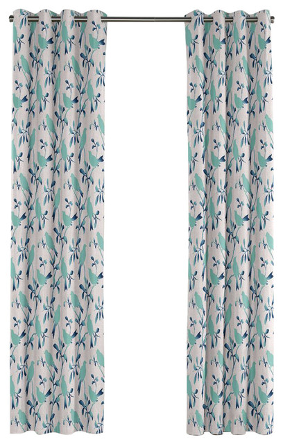 silhoetted aqua blue bird grommet curtain contemporary curtains